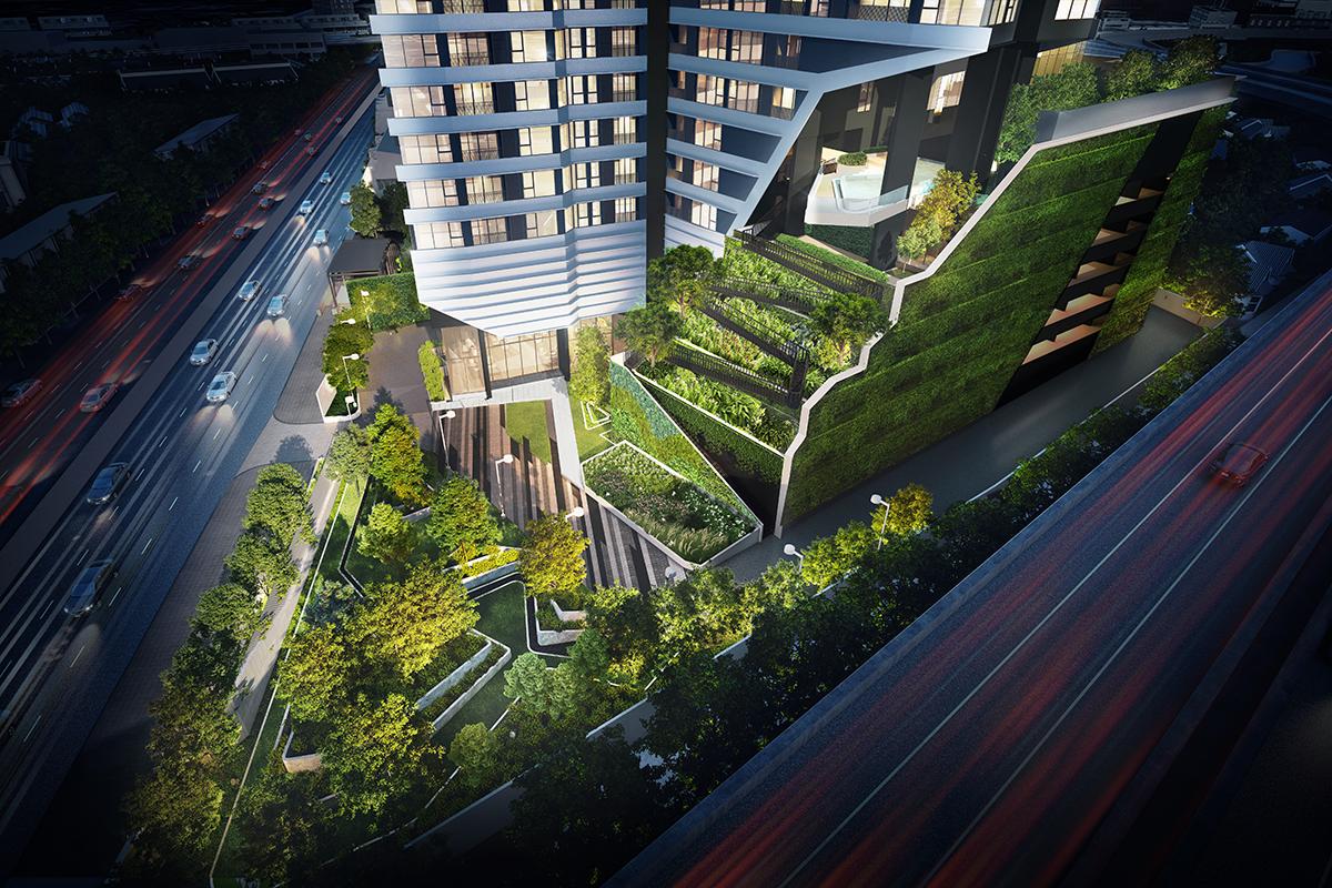 ภาพจำลองตัวอย่างพื้นที่สวนแบบเล่นระดับของแบรนด์คอนโดใหม่ IDEO Mobi Rama 4